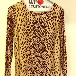 Classic Crepe Long Sleeve Animal Print Dress
